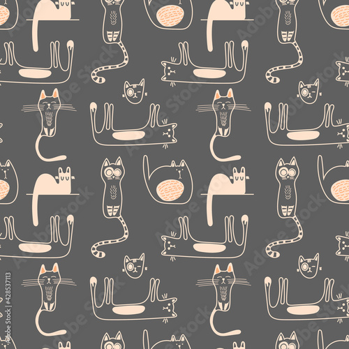 Vector seamless pattern with cute doodle-style cats in monochrome on a gray background. Children's illustration for pajamas, clothing, postcards, packaging paper, pet stores