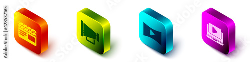 Fotografie, Obraz Set Isometric Movie clapper, Megaphone, Online play video and Online play video icon