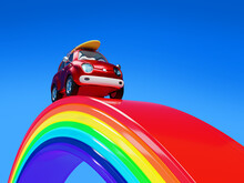 Car Surfing Riding On A Rainbow