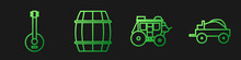 Set Line Western Stagecoach, Banjo, Wooden Barrel And Wild West Covered Wagon. Gradient Color Icons. Vector