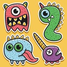 Hand Drawn Cartoon Monster Sticker Design