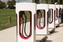 Bathurst, Australia - 2021-04-07 Tesla Electric Car Vehicle Charger Station. Environment Friendly Innovative Feature