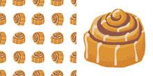 Cinnamon Bun Cartoon Style Vector Illustration. Doodle Clip Art Element For Cafe Menu Or Chalkboard.