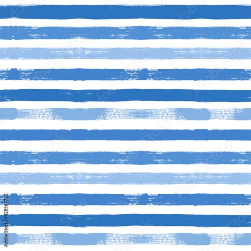 Canvas Print Stripes pattern, sea blue striped seamless vector background, navy brush strokes