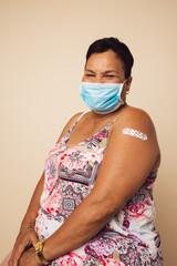 Senior woman received covid vaccine