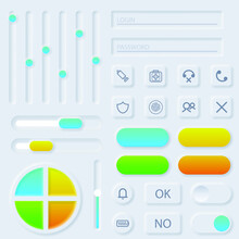 Set Abstract Collection Icons Symbols Signs Neumorphism Shadow Logotype Vector Design Style User Interface Elements Neumorphic Ui Ux Kit