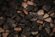 Closeup Shot Of Many Stacked Firewoods
