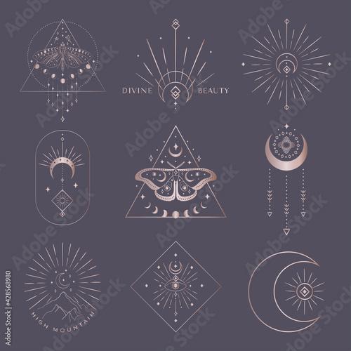 Cuadros en Lienzo Golden vector abstract mystic line design elements