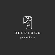 Deer Head Creative Design Logo Vector. Deer Illustration On Black Background