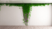 White Wall With Leaves. Modern Simple Interior With Ivy Plants. 3d Rendering Illustration. High Resolution.