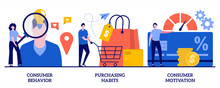 Consumer Behavior, Purchasing Habits, Consumer Motivation Concept With Tiny People. Buyer Persona And Purchase Decision Process Vector Illustration Set. Customer Buying, Shopping Habits Metaphor