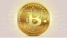 Vector Illustration, Illustration, Wallpaper  With The Image Of A Gold Coin Of Cryptocurrency Bitcoin With Numbers In The Background On A Golden Background