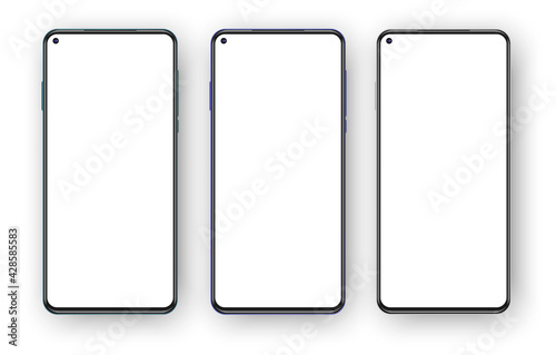 Fototapeta Set of three frameless phones mockup isolated on white background. Left placed selfie camera on the blank screen obraz