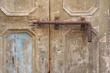 Old Iron, Rusty Latch On The Old Wooden Door