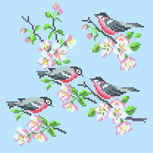 Embroidery Birds And Flowers