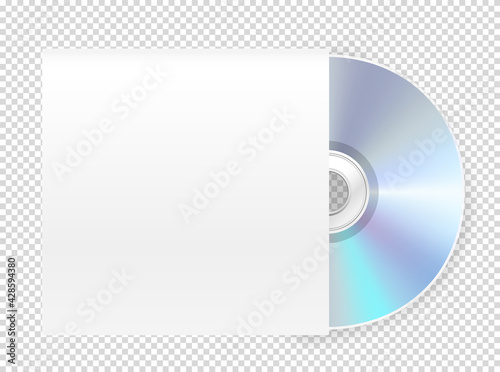 Obraz Modern cd-rom with cover vector mockup. Vector object isolated on transparent background - fototapety do salonu