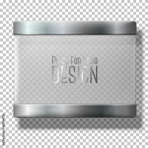 Obraz na plátně Opaque transparent vector glass plate with metal holders, for your signs, on plaid background