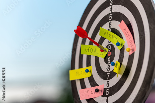 Fototapeta Close up shot dart lacing on board,Business target or goal success and winner concept