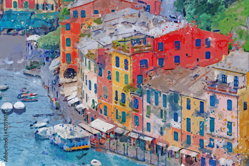 Fototapeta Watercolor drawing picture of portofino coast beautiful town at Italy