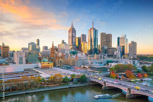 Melbourne city skyline at twilight - fototapety na wymiar