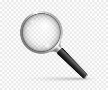 Realistic Magnifying Glass. Instrument For Magnify. Vector Illustration.