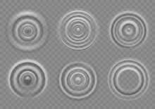 Ripple On Water Surface. Splash Water Impact Top View, Circle Water Ripples, Liquid Swirl Effect With Circular Waves Vector Texture