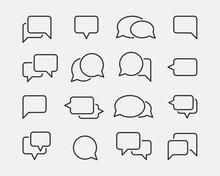 Chat Icon Vector Set Design Element. Talk Bubble Speech Sign. Dialogue Balloon.