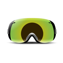 Ski Goggles Isolated On White. Winter Glass Mask For Snow. Snowboard Protection For Face. Vintage Sunglasses