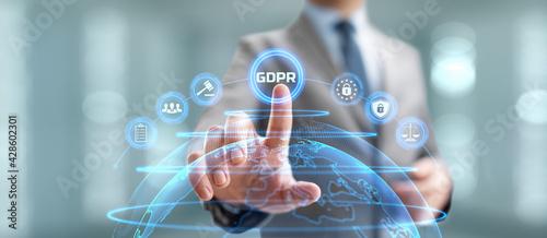 Fototapeta GDPR General data protection regulation european information privacy law. Businessman pressing button on screen obraz