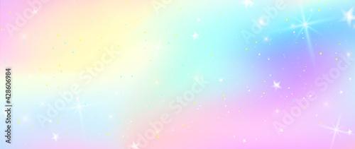 Fotografie, Obraz Unicorn colorful background, rainbow pattern, glitter vector texture, pastel fantase design, universe holographic style
