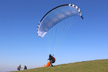 Paraglider Launching At Milk Hill, Wiltshire