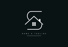Line Art Logo Icon Of Home Or House With Alphabet Letter S, Minimal Real Estate Logo