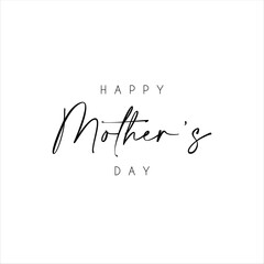 Happy Mother's Day text with flowers isolated on background. Hand drawn lettering as Mother's day logo, badge, icon. Template for Happy Mother's day, invitation, greeting card, postcard.