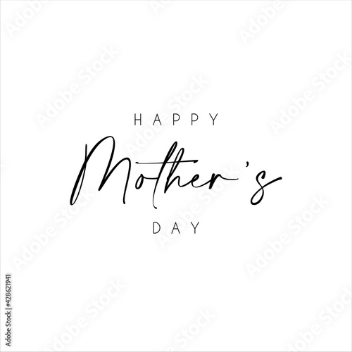 Fototapeta Happy Mother's Day text with flowers isolated on background. Hand drawn lettering as Mother's day logo, badge, icon. Template for Happy Mother's day, invitation, greeting card, postcard. obraz