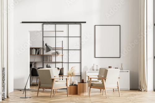 Obraz Light living room interior with armchairs and bookshelf, poster mock up - fototapety do salonu
