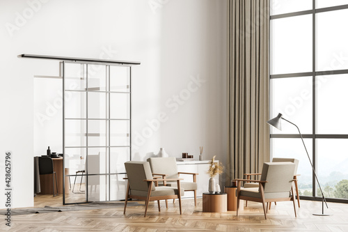 Obraz White living room interior with armchairs, window and parquet floor - fototapety do salonu