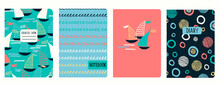 Cover Page Vector Templates With Sailing Boats, Waves, Anchors, Lifesavers. Headers Isolated And Replaceable