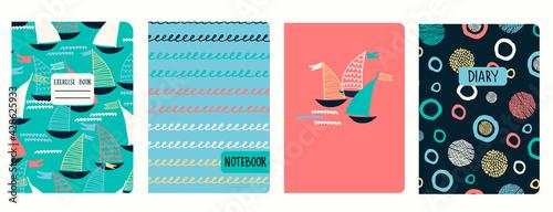 Valokuva Cover page vector templates with sailing boats, waves, anchors, lifesavers