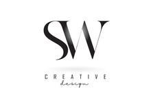 SW S W Letter Design Logo Logotype Concept With Serif Font And Elegant Style Vector Illustration.