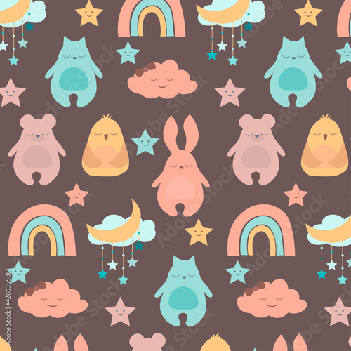 Seamless pattern with cute baby animals. Vector illustration with rabbit, cat, bear, bird, cloud. For children's room, textiles, clothing