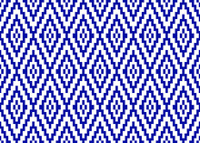 Geometric Seamless Pattern With Blue Pixel Art Rhombus On White Background. Abstract Diamond Vector Pattern. Simple Vector Illustration
