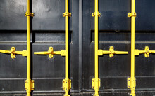 Cargo Container In Black With Yellow Locks