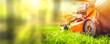Leinwandbild Motiv Lawn mower cut grass. Garden work. Electric Rotary lawn mower machine