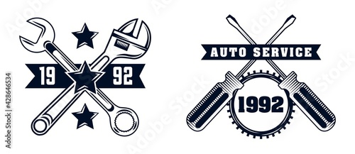 Slika na platnu garage badge vector collection set