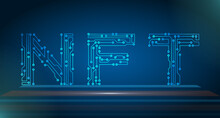 NFT Non-Fungible Token, Blockchain Asset Text. Cryptographic Token
