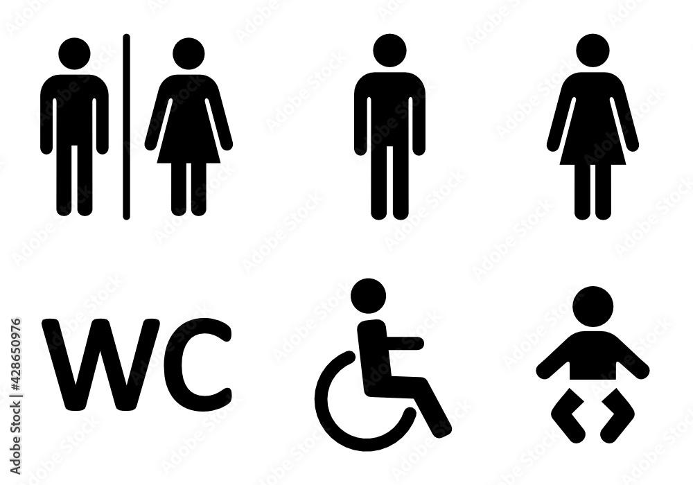 Fototapeta zestaw ikon do wc