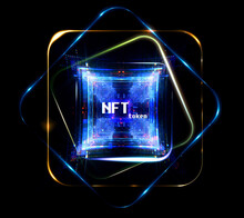 Crypto Currency. Abstract Effect. Future Tech. NFT Non-fungible Token. .Digital Cryptoart. Shine Grid. Neon Flare. Quantum Computer. .Magic Code. Grid HUD Lines. Web Device. 3d Rendering. QR Code