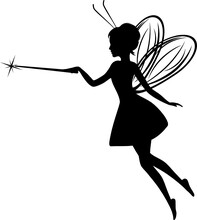 Fairy Silhouette. Simple Drawing For Design