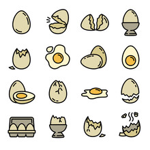 Eggshell Icons Set. Outline Set Of Eggshell Vector Icons For Web Design Isolated On White Background
