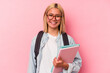 Young venezuelan student woman isolated on pink background happy, smiling and cheerful.